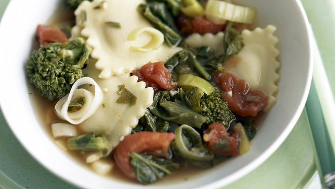 Skinny Broccoli Rabe and Ravioli