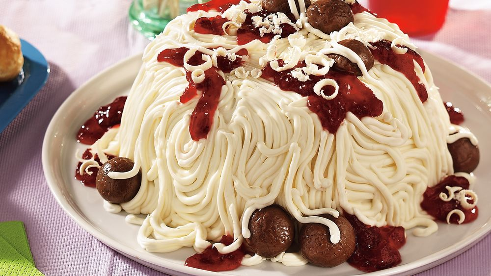 April Fool's Spaghetti and Meatballs Cake