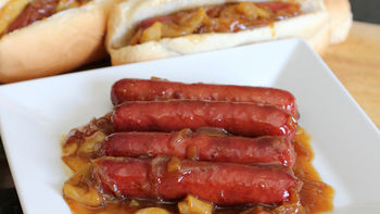 Cider-Glazed Brats with Apples and Onions