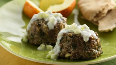 Mini Greek Meatloaves with Tzatziki Sauce