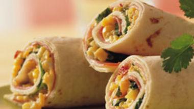 Ham and Cheese Tortilla Roll-Ups (lighter recipe)