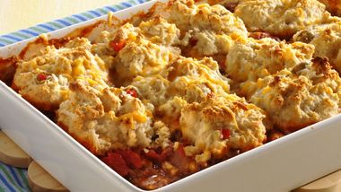 Biscuit-Topped Beef and Corn Casserole