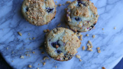 Rhubarb Blueberry Muffins with Honey Nut Cheerios™ Crumbles
