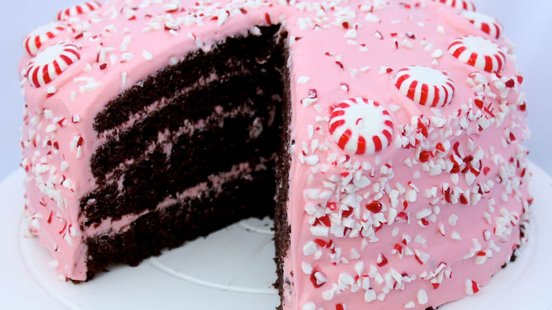 Chocolate Fudge Cake with Pink Peppermint Cream Cheese Frosting