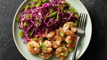 Sesame Shrimp with Snap Pea Slaw