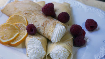 Meyer Lemon and Raspberry Crepes