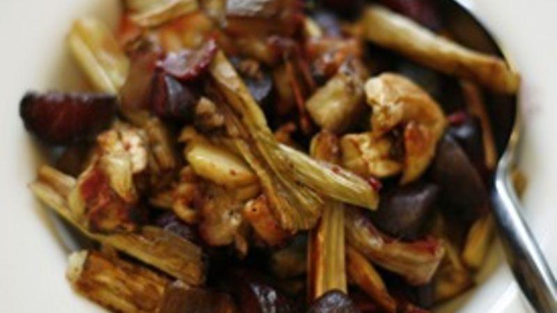 Garlicky Roasted Beets, Leeks and Eggplant
