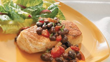 Chili-Grilled Halibut with Black Bean Salsa