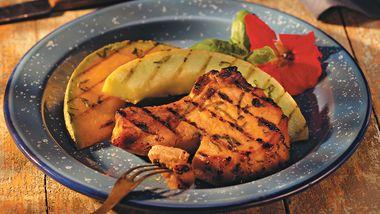 Basil-Lemon Pork Chops with Melon