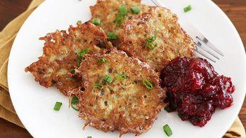 Potato Latkes with Cranberry Sauce