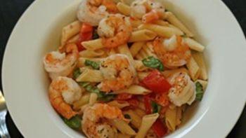 Fresh Tomato Basil Pasta with Romano Roasted Shrimp