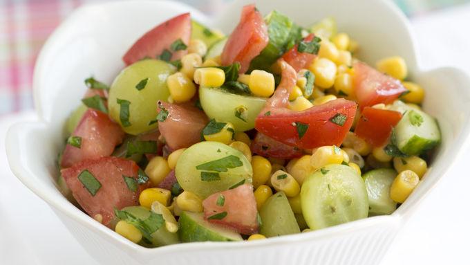 Tomato, Corn and Grape Salsa