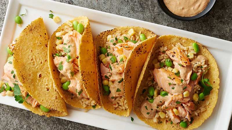 Salmon Fish Tacos with a Spicy Tomato Cream Sauce