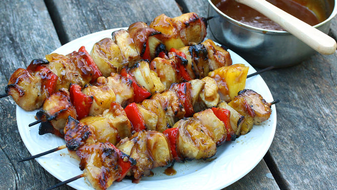 Bacon, Pineapple, Chicken Kabobs