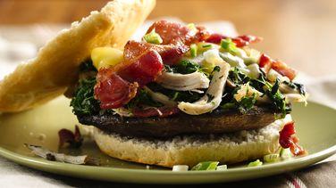 Chicken Bacon Portabella Burgers