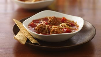 Spicy Angel Hair Pasta and Meatball Soup