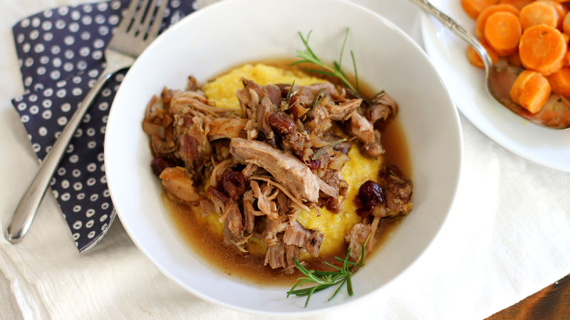Slow-Cooker Balsamic Cranberry Pulled Pork with Cheesy Polenta