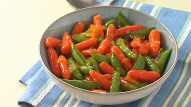 Orange Glazed Carrots and Sugar Snap Peas