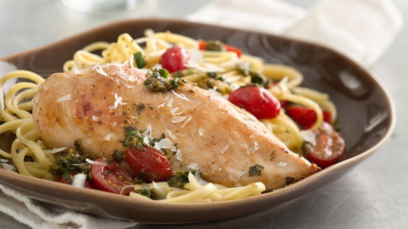 Pechugas de pollo con pesto y parmesano