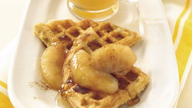 Cinnamon-Cornbread Waffles with Apple-Cinnamon Syrup