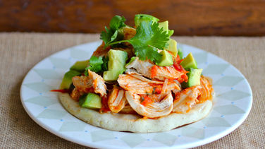 Shredded Chicken Arepa with Hogao Sauce