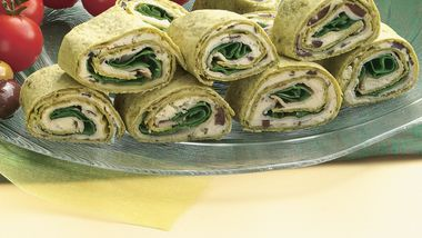 Greek Spinach-Turkey Wraps