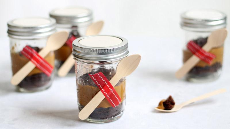 Caramel Fudge Cake in Jars