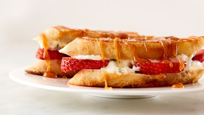 Strawberry-Cream Cheese Grilled Cheese with Salted Caramel Sauce