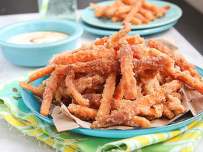 Sassy Sugar Cinnamon Sweet Potato Fries with Creamy Coconut Maple Dipping Sauce