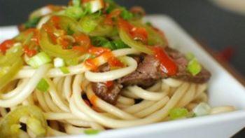 Grilled Skirt Steak and Bok Choy Udon Noodles