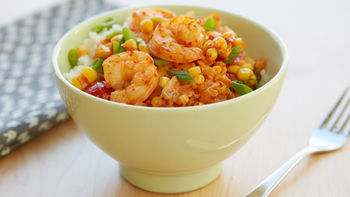 Broiled Shrimp, Corn and Tomatoes with Kimchi