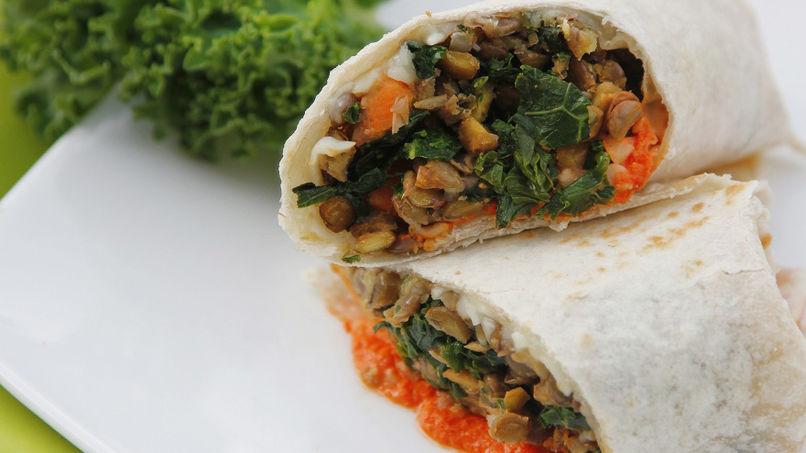Lentil and Kale Burritos