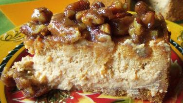 Piloncillo Sweet Potato Cheesecake with Pecans