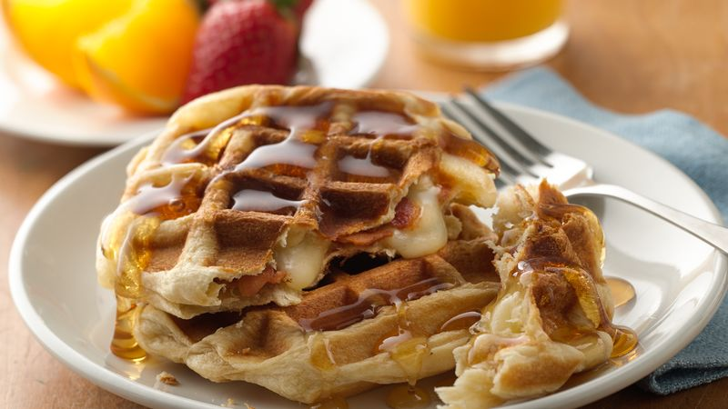 Cheese and Bacon-Filled Waffles