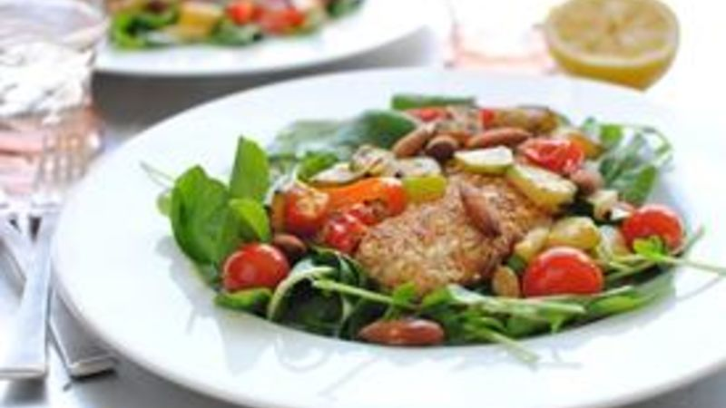 Almond-Crusted Tilapia with Veggies