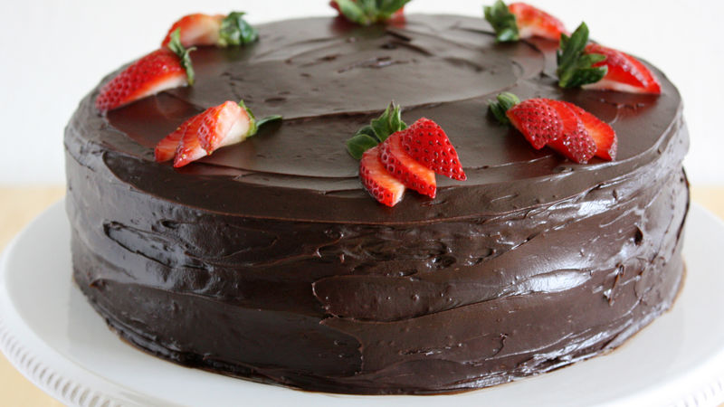 Dark Chocolate-Covered Strawberry Cake recipe from Betty Crocker