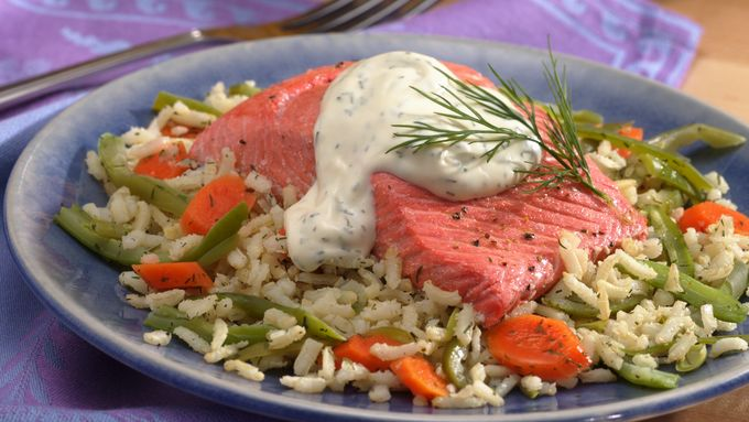 Salmon with Vegetable Pilaf