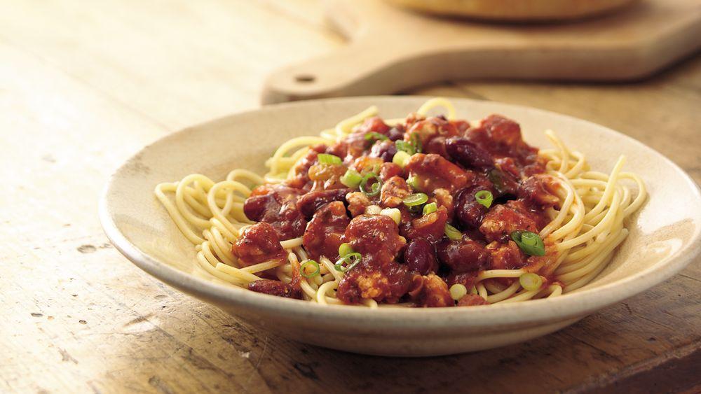 30-Minute Chili Over Spaghetti