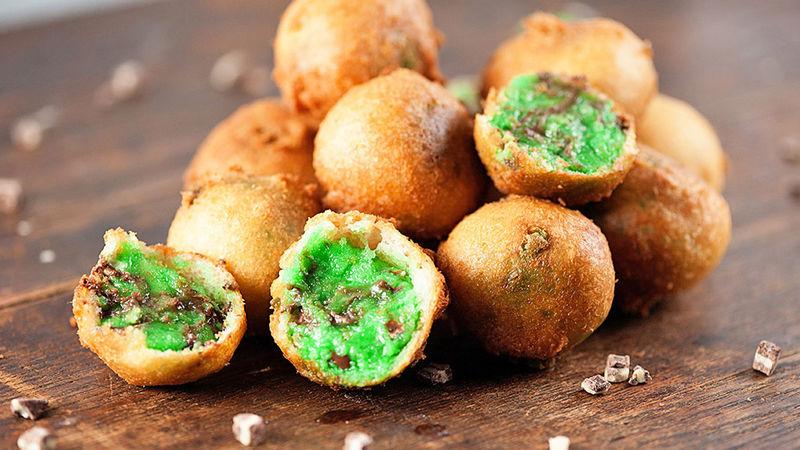 Thin Mint Fried Cookie Dough Bites