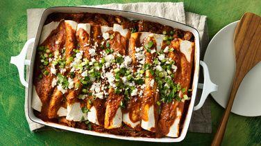 Pulled Pork Tomato Mole Enchiladas Recipe From Betty Crocker
