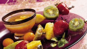 Winter Fruit Kabobs with Peach Glaze