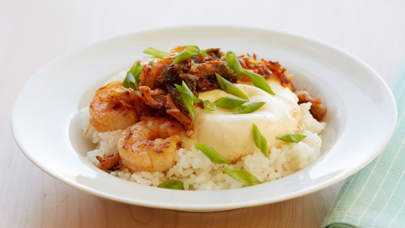 Shortcut Bibimbap with Shrimp, Green Onion, Egg and Kimchi