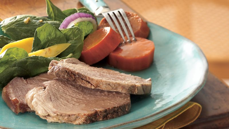 Slow-Cooker Brown Sugar-Topped Pork with Sweet Potatoes