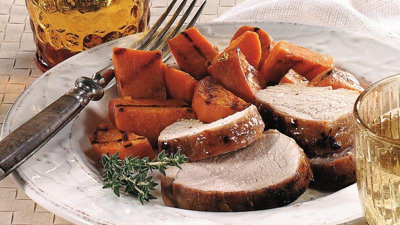 Grilled Maple-Herb Glazed Pork Tenderloin