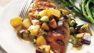 Grilled Chicken Breasts with Cucumber-Peach Salsa
