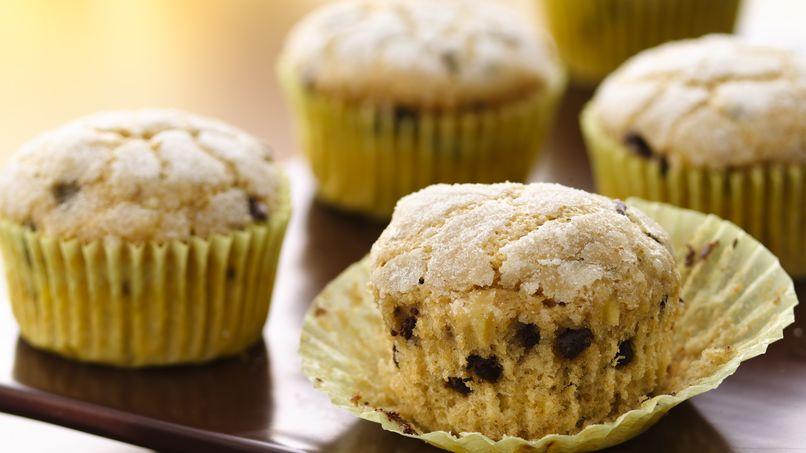 Muffins de banana con chips de chocolate (con harina blanca de trigo entero)
