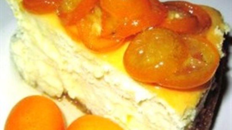 Orange Cheesecake with Candied Kumquats