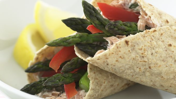 Skinny Lemony Asparagus and Smoked Salmon Wraps
