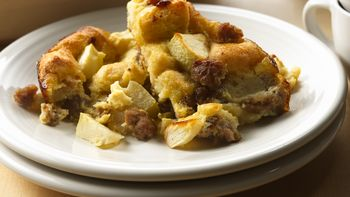 Sausage and Apple Breakfast Bread Pudding
