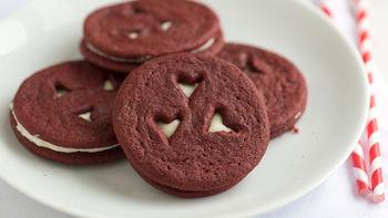 Red Velvet Heart Sandwich Cookies
